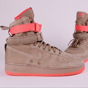 Nike SF AF1 Air Force 1 Khaki Beige Tan Rush Coral